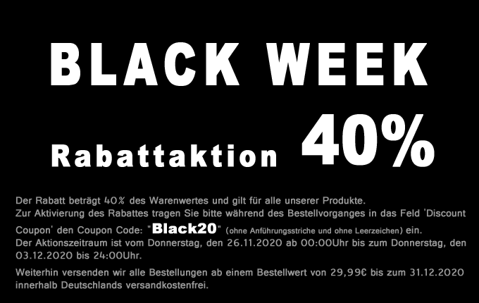 Black Week 40% Rabatt Aktion